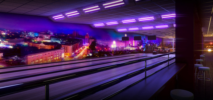 View on bowling valleys and wall with fluorescent painting sketch